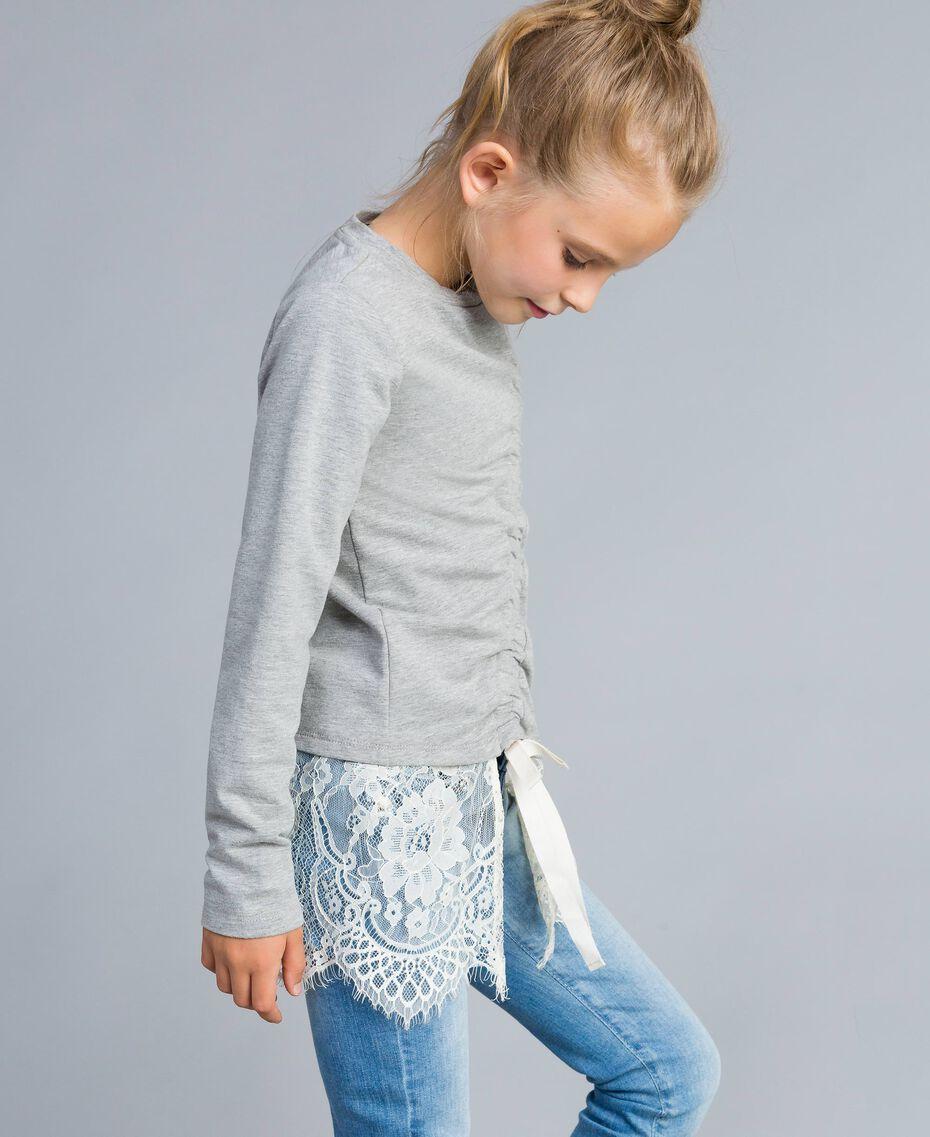 Felpa in cotone stretch con drappeggio Bicolor Grigio Chiaro Melange / Off White Bambina GA82GB-02