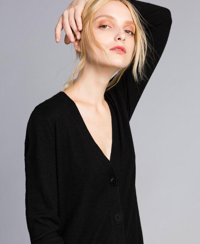 Cardigan en cachemire mélangé Noir Femme SA83FD-01