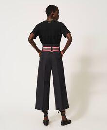 Hose mit mehrfarbigem Gürtel Schwarz Frau 202LI2ECC-04