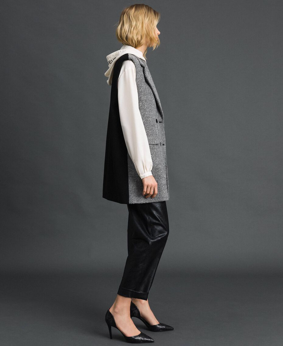 Double breasted chevron wool cloth waistcoat Black Jacquard / Creamy White Woman 192ST2101-02