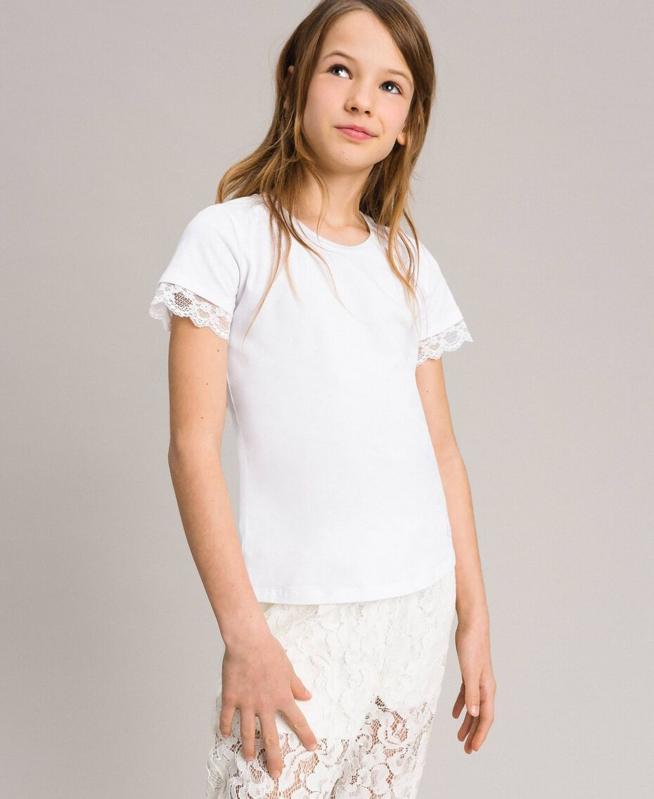 Jersey T-shirt with lace White Child 191GJ2180-02