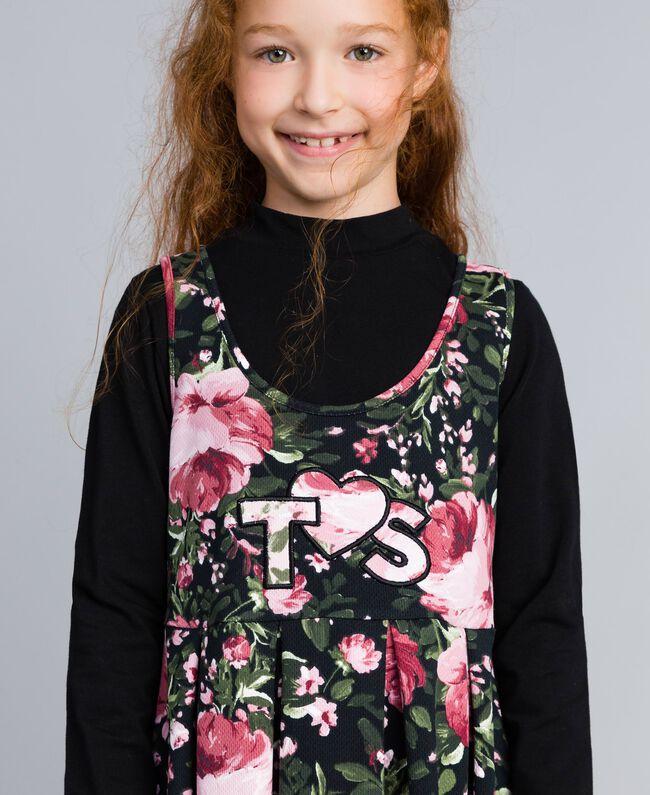"""Kleid aus bedrucktem Pikee mit T-Shirt Print """"Rosen"""" / Schwarz Kind GA82LC-04"""
