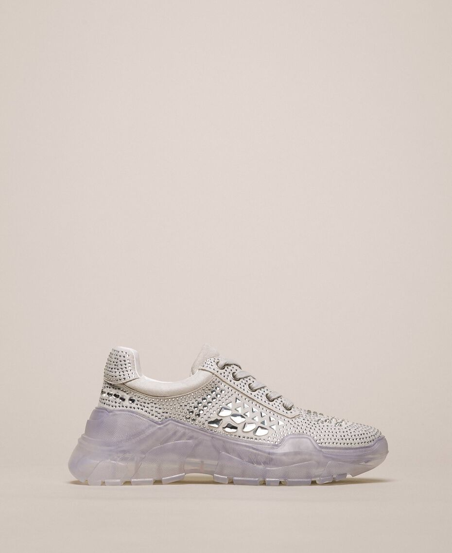 Suede running shoes with rhinestones White Woman 201MCT042-01
