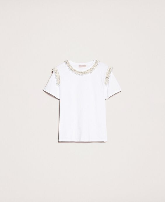 T-shirt with fringes and pearl embroidery
