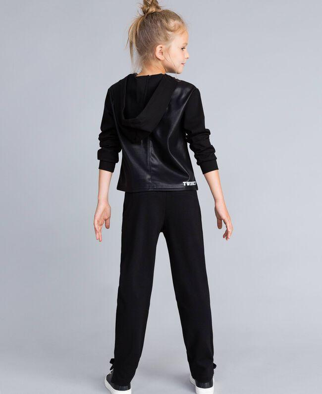 Sweatshirt aus Lederimitat und Interlock-Jersey Schwarz Kind GA82LV-04