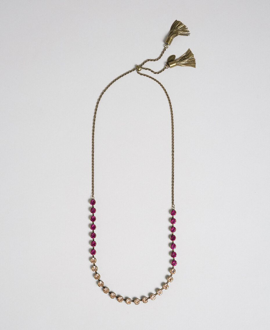 Choker with bezels and tassels Mousse Pink / Beet Red Woman 192TA436C-01