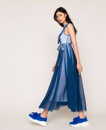 """Full-length tulle gown with ruffle """"Hyacinth"""" Blue Woman 201MT2390-01"""