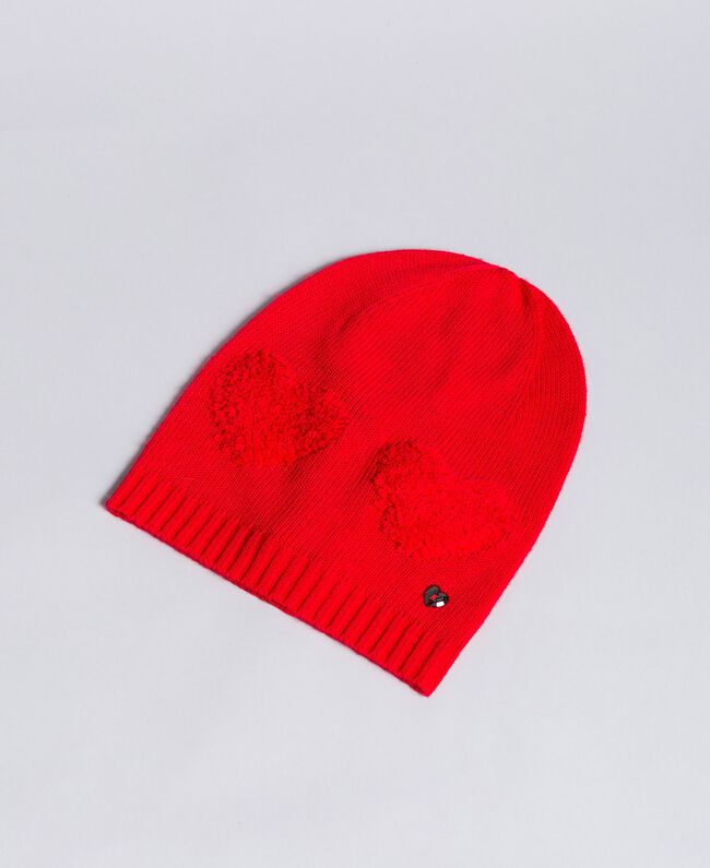 Bonnet avec cœurs en point éponge Rouge Coquelicot Femme VA8P2V-01
