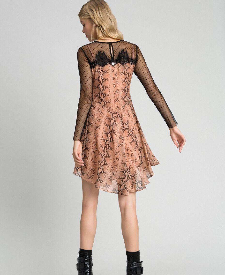 Платье из жоржета с животным принтом Принт Питон Верблюжий женщина 192TT2273-03