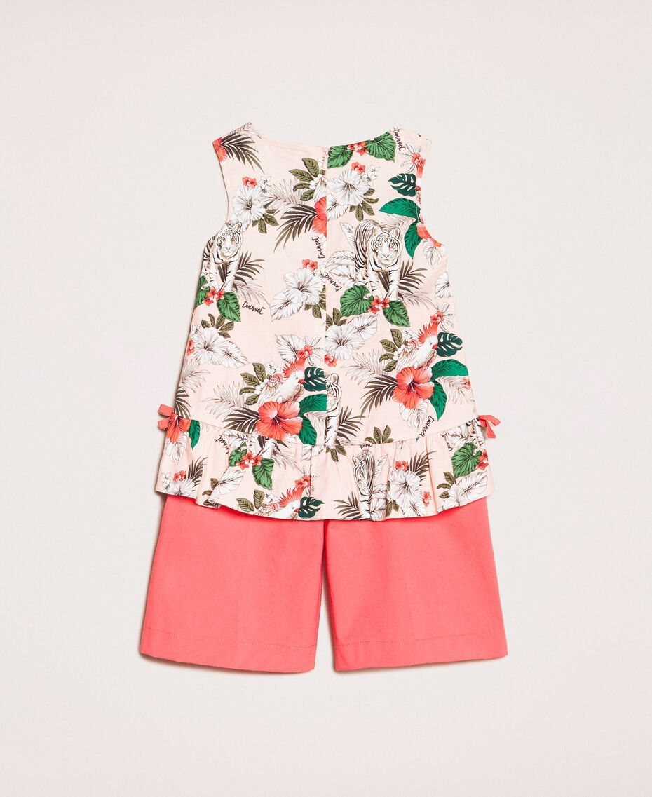 """Printed top and cropped trousers Two-tone Savannah Pink Print / """"Calypso Coral"""" Red Child 201GB2330-0S"""