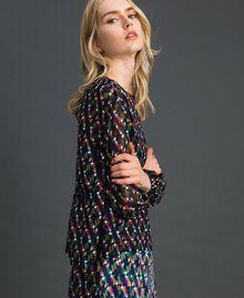 Bluse aus bedrucktem Georgette mit Unterhemd Geometrischer Fuchsprint Frau 192ST2151-02