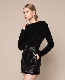 Cardigan-Pullover aus Pelzgarn Schwarz Frau 201TP3091-02