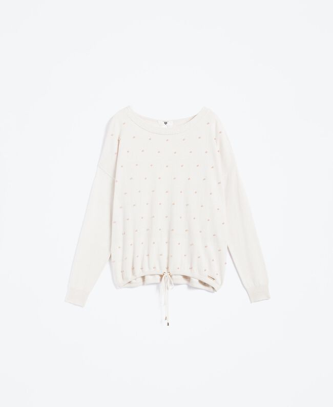Wool blend jumper with pearls Blanc Woman IA8AKK-01