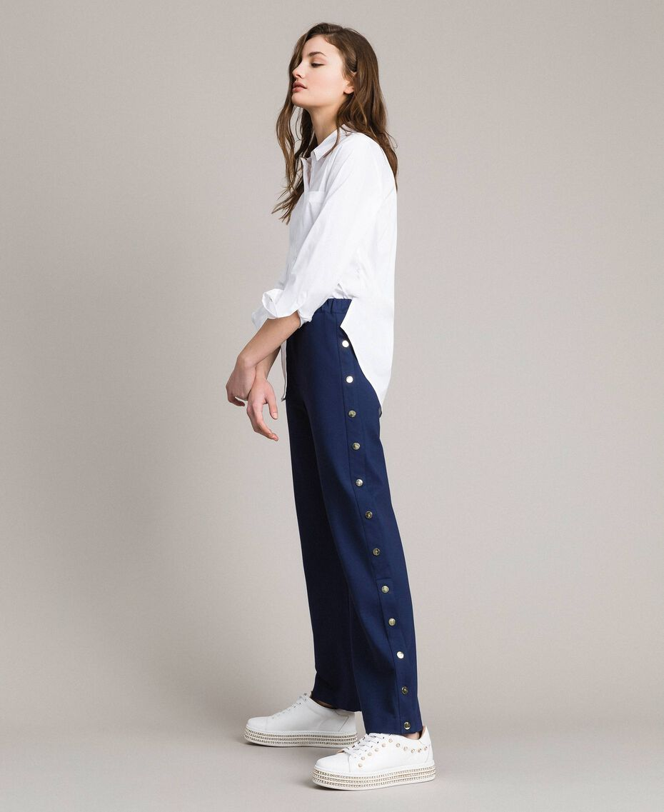 Pantalon coupe cigarette avec fentes latérales et boutons Indigo Femme 191MP2155-01