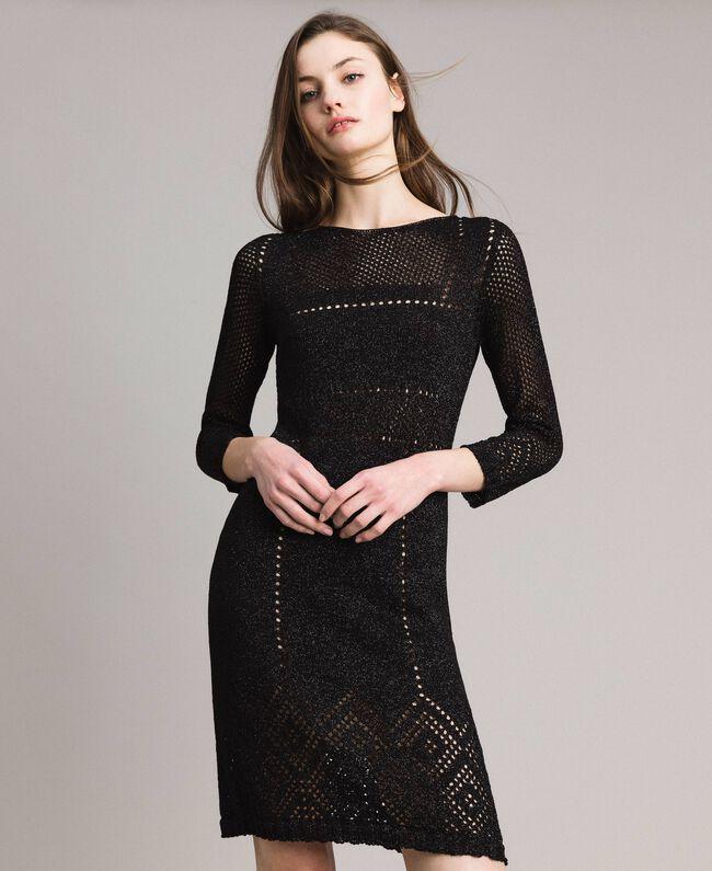 Openwork lurex dress Black Woman 191TT3111-01