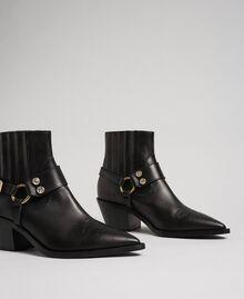 Boots à talons en cuir Noir Femme 192TCP10G-01