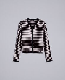 """Two-tone striped cardigan with ruches Black / """"Cloud Pink Stripe Woman JA83BR-0S"""