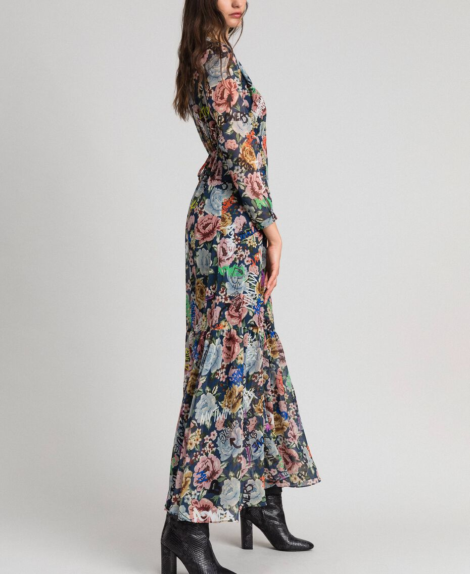 Long dress with floral and graffiti print Blue Flower Graffiti Print Woman 192MP2221-02