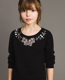 Cotton sweatshirt with multicolour stones Black Child 191GJ2311-0S