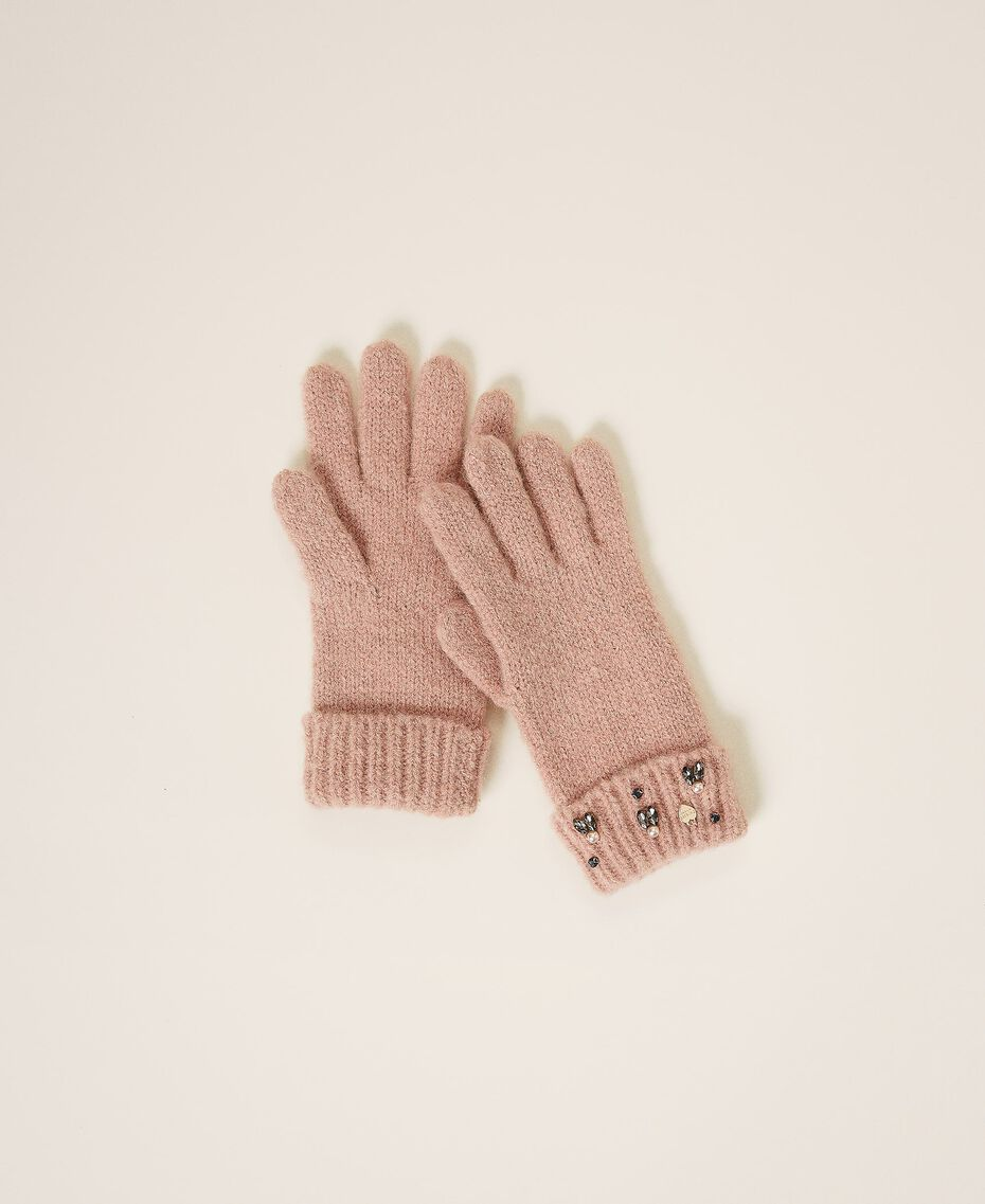 """Knit gloves with pearls and bezels """"Intense Nude"""" Pink Woman 202TO5112-01"""