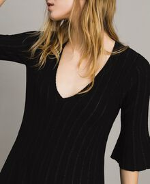 Knit dress with lurex stripes Black Woman 191TP3250-04
