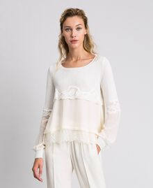Jumper with georgette and lace White Snow Woman 192TT3082-01