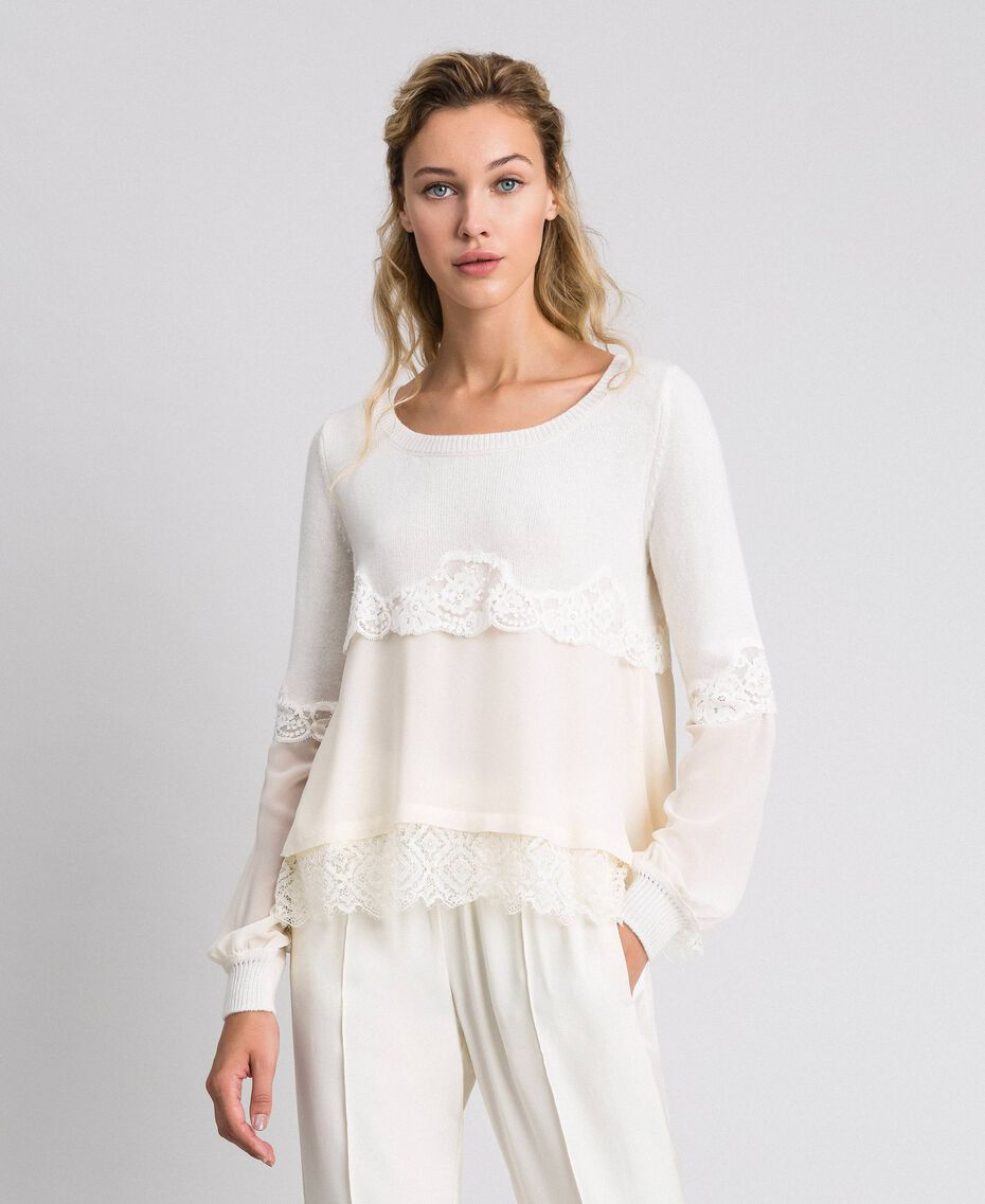Jumper with georgette and lace Black Woman 192TT3082-01