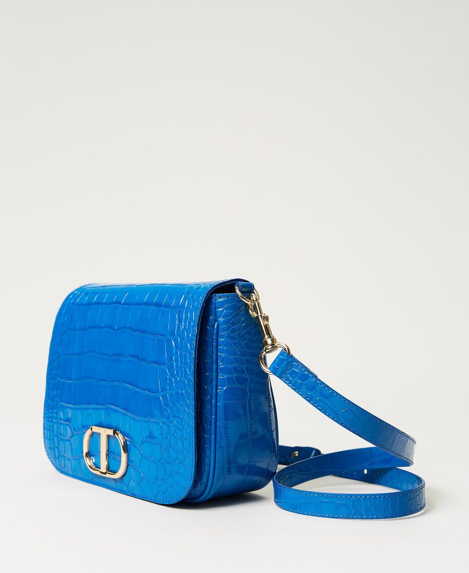 "Leather shoulder bag with crocodile print ""Nautical Blue"" Croc Print Woman 211TD8033-01"