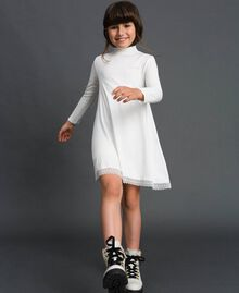 Dress with lace and rhinestone logo Off White Child GCN2F1-01