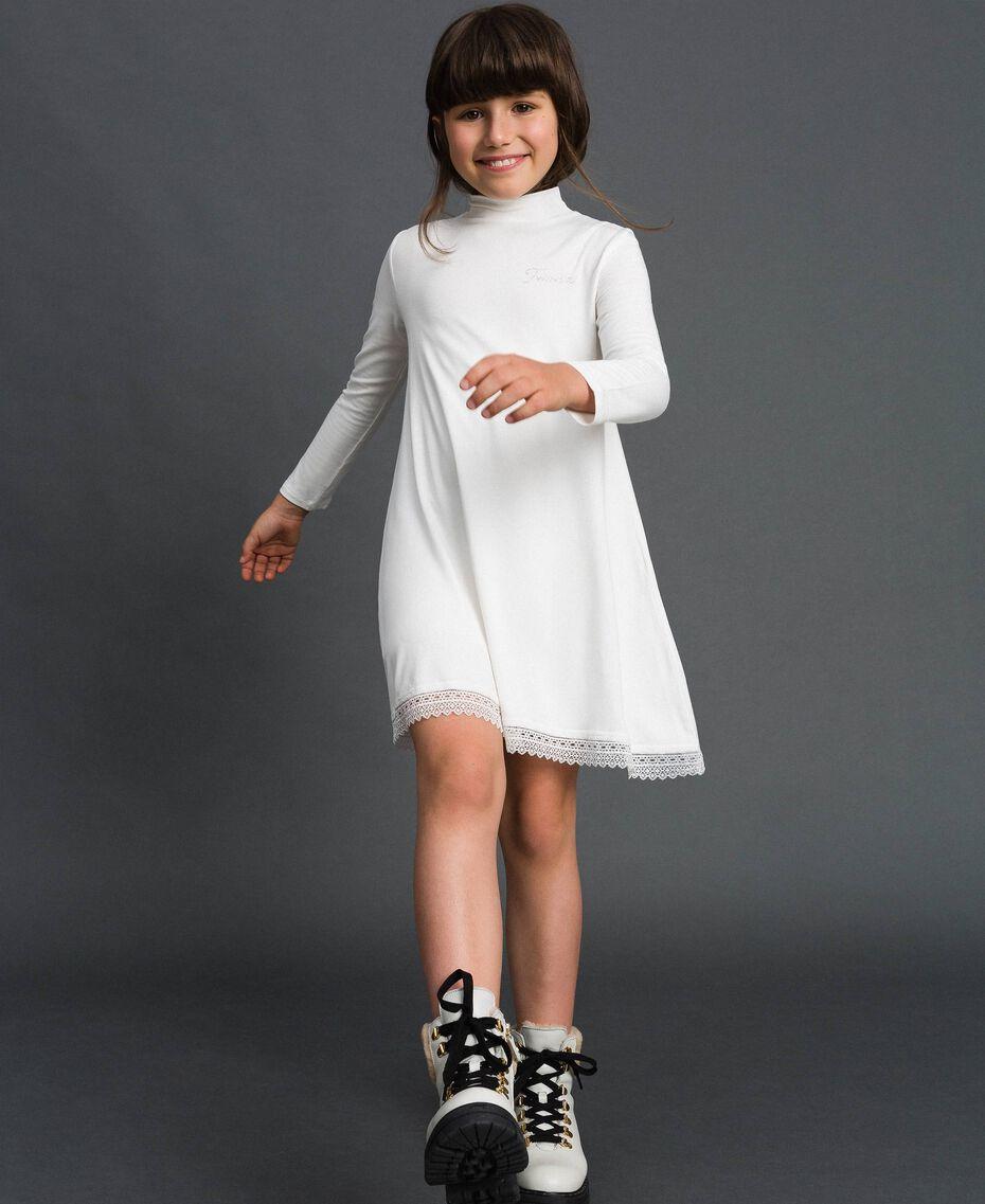 Robe avec dentelle et logo strassé Off White Enfant GCN2F1-01