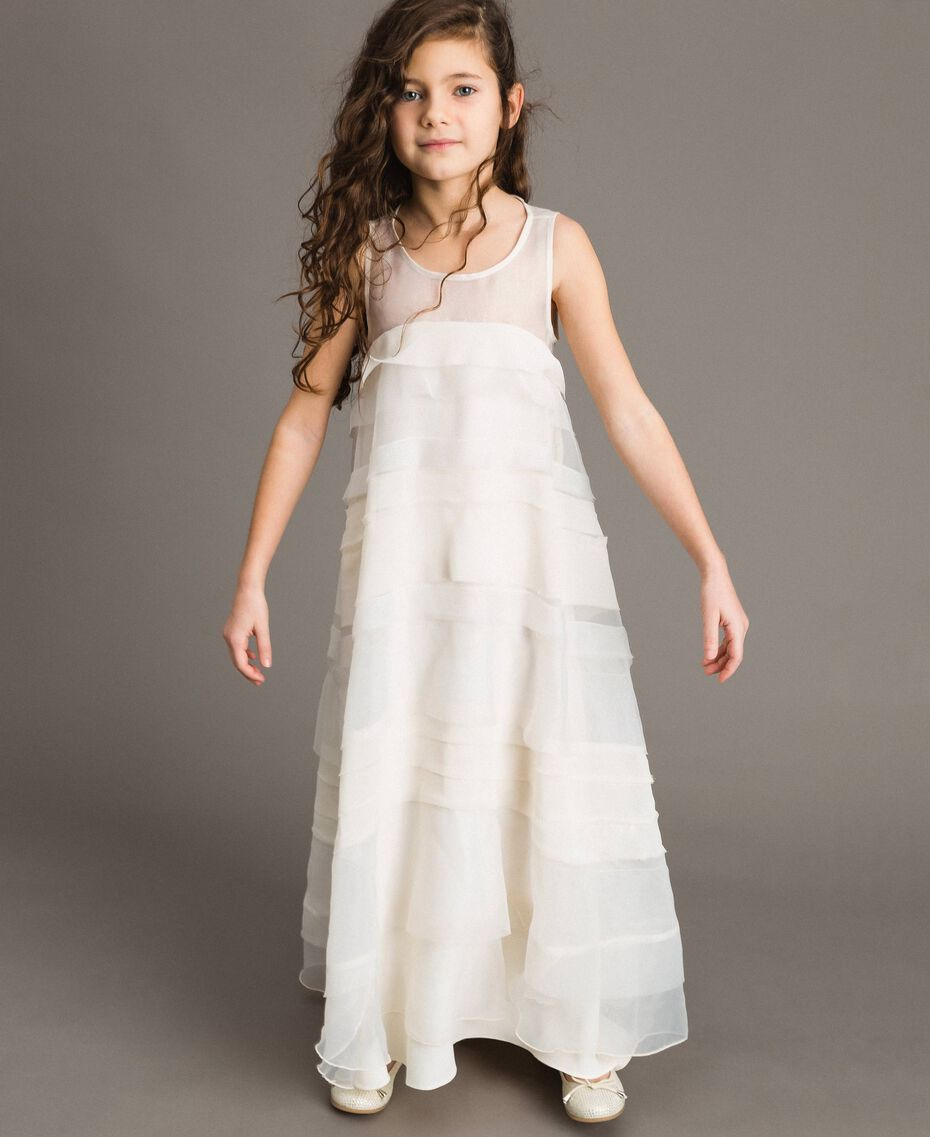 Georgette and organza long dress Pale Cream Child 191GJ2QD0-02