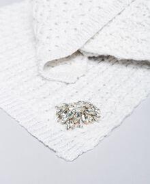 Foulard en laine mélangée avec broderie Blanc Neige Femme QA8TKP-02