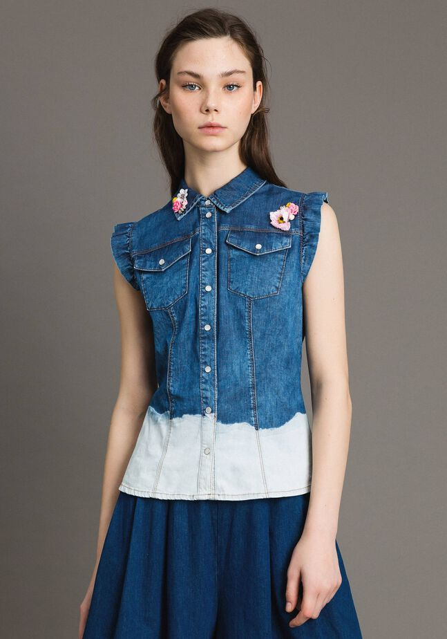 Denim shirt with appliqués