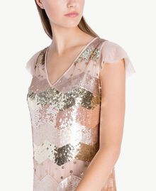 "Sequin tunic and tulle dress ""Nude"" Beige Female QA7PAQ-04"