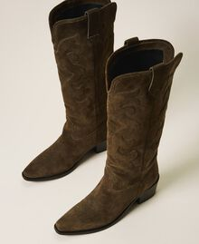 Suede Texas boots Dark Olive Green Woman 202TCP160-02