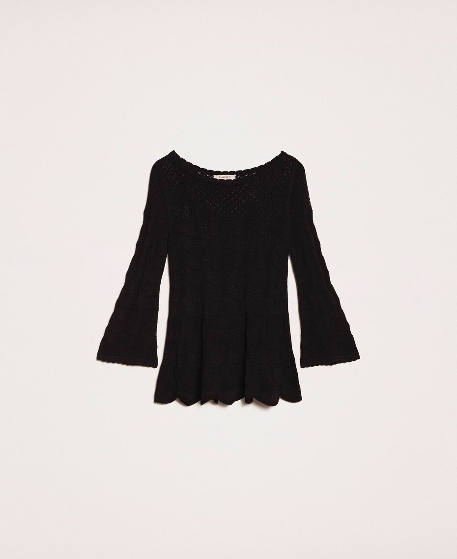 Lace stitch jumper Black Woman 201TP3211-0S