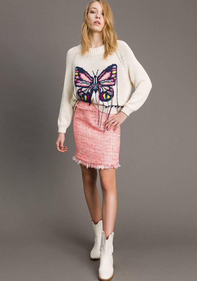 Minirock aus Tweed mit Fransen