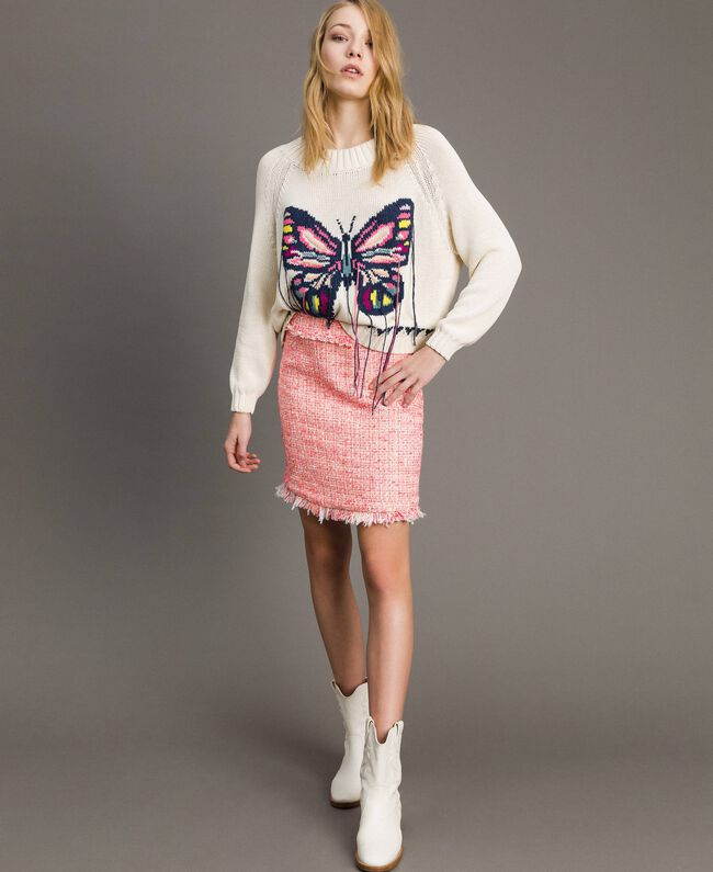 "Minirock aus Tweed mit Fransen Multicolour ""Wild Rose"" Pink Bouclé Frau 191TP2527-01"