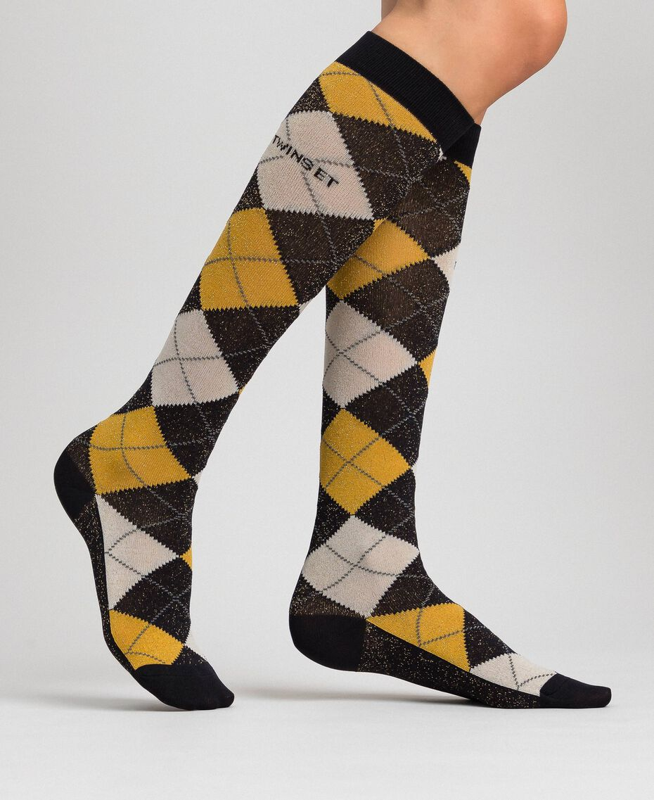 Long socks with lurex diamond shapes Black / Saffron Yellow Jacquard Woman 192TA4321-0S
