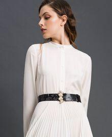 "Python print leather belt, regular ""Anthracite"" Grey Python Print Woman 192TA4308-0S"