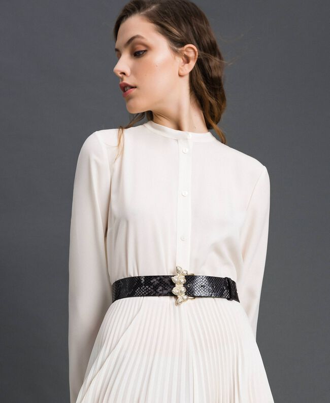 Python print leather belt, regular Mousse Pink Python Print Woman 192TA4308-0S