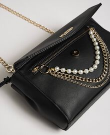 Faux leather shoulder bag with pearls and chains Black Woman 192MA7052-02