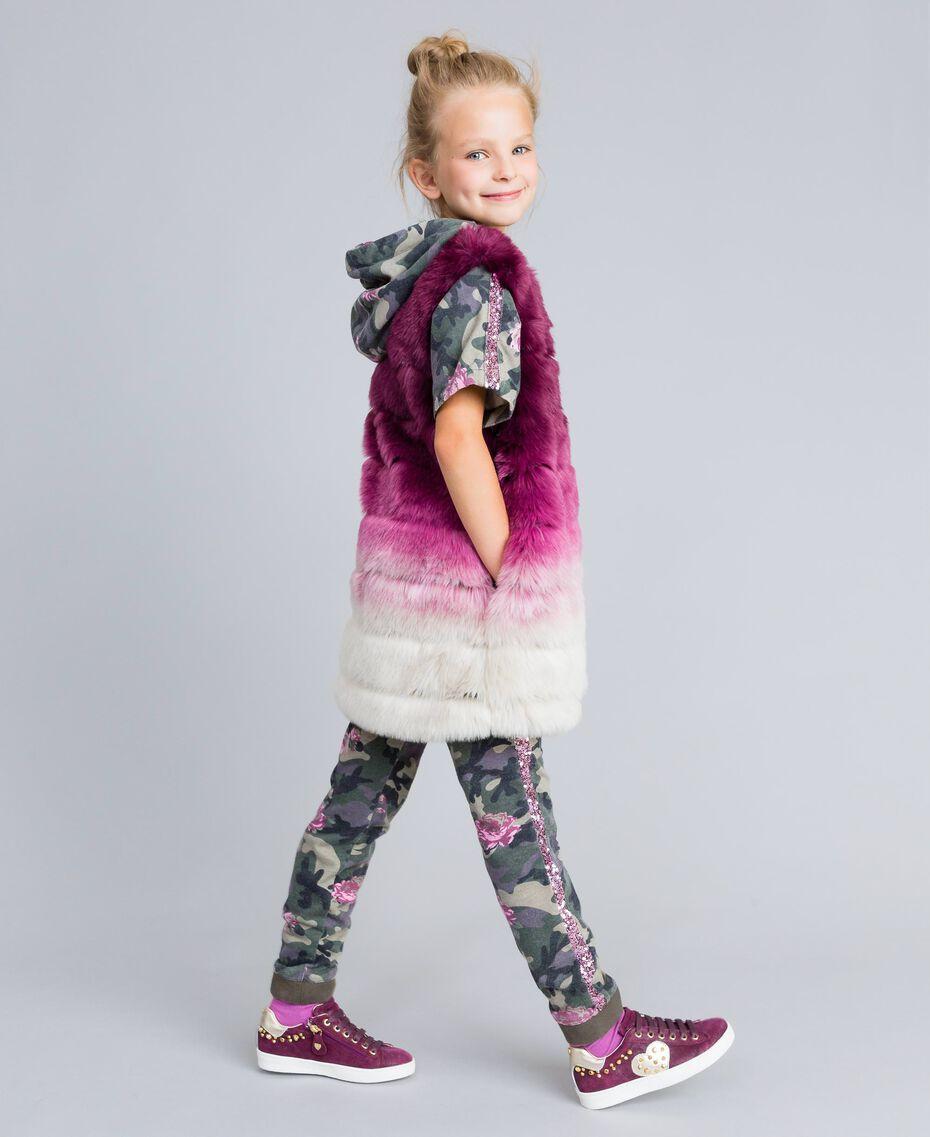 """Ombre faux fur gilet """"Grape"""" Purple / """"Bougainvillea"""" Pink Gradient Print Child GA82ZA-02"""