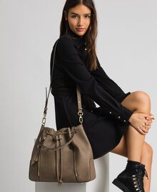 Large faux leather bucket bag Turtledove Woman 192TA7144-0S