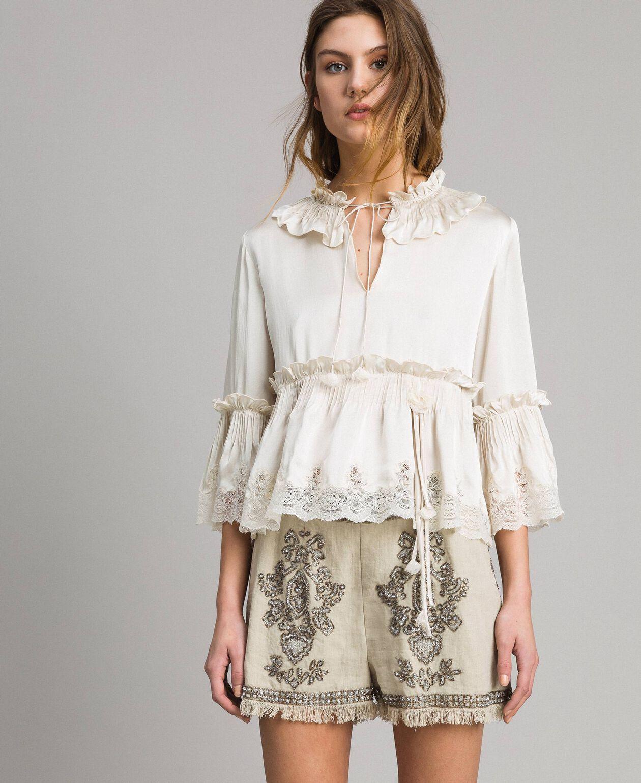 Blouse en satin de soie à bordures en dentelle Blanc Neige Femme 191TT2014-01