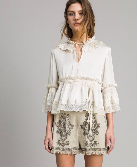 Silk satin blouse with lace trims