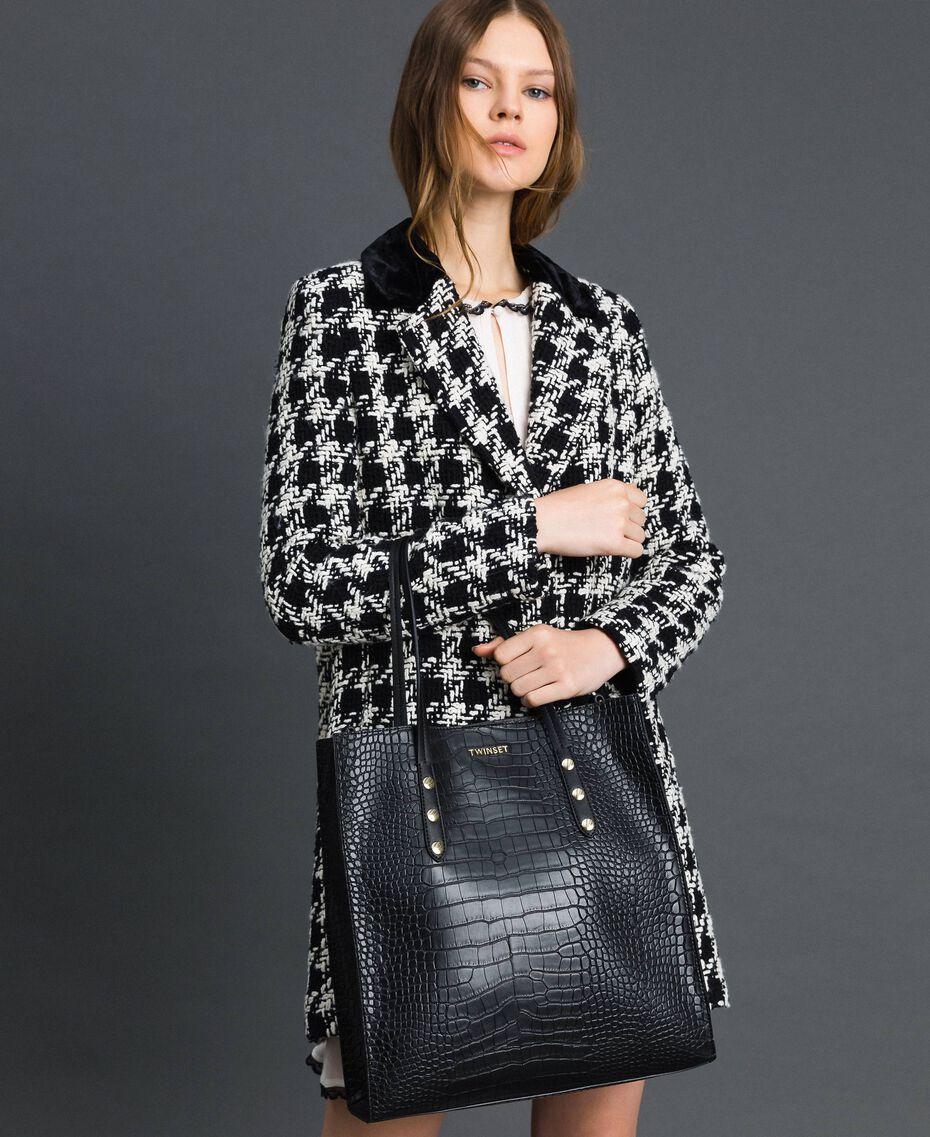 Shopper aus Lederimitat mit Krokoprägung Krokoprint Schwarz Frau 192TA7276-0S