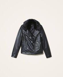 Faux leather biker jacket Black Woman 202MP2090-0S