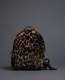 Sac à dos en fausse fourrure avec imprimé animalier Animalier Femme 192MA7032-03