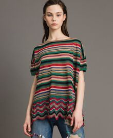 Pull oversize rayé en lurex Rayures Multicolores Femme 191ST3141-03